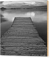 Flathead Lake Dock Sunset - Black And White Wood Print