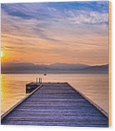Flathead Lake Sunrise Wood Print