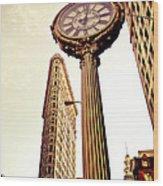 Flatiron Building And 5th Avenue Clock Wood Print