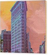 Flatiron Building At Sunset Wood Print