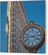 Flatiron Clock Wood Print