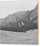 Flatirons Boulder Colorado Winter View Bw Wood Print