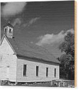 Flatt Rock Church Bw Wood Print