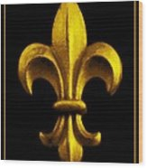 Fleur De Lis In Black And Gold Wood Print