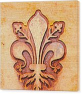 Fleur De Lis On A Rusty Metal Plate Wood Print