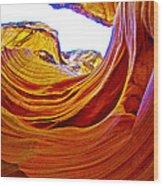 Flexibility Rock In Lower Antelope Canyon Near Page-arizona  Wood Print