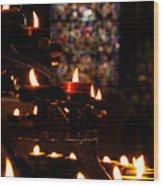 Flickering Prayers Wood Print