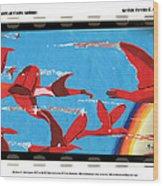 Flight Of Magical Gulls Anime Wood Print