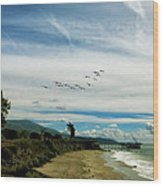 Flight Of Pelicans Wood Print