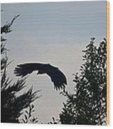 Flight Of The Black Crow Wood Print
