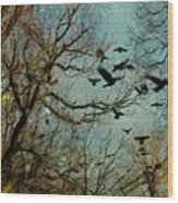 Flight Of The Forest Crows Wood Print