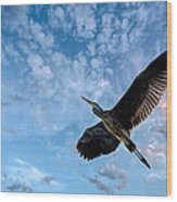 Flight Of The Heron Wood Print