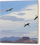Flight Of The Sandhill Cranes Wood Print by Mike  Dawson