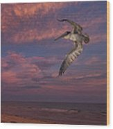 Flight Over Enchanted Beach Wood Print by Robert Bascelli