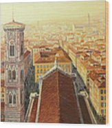 Flight Over Florence Wood Print by Kiril Stanchev