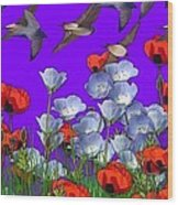 Flight Over Poppies Wood Print