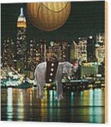 Flight Over The New York Skyline On A Hot Air Balloon Wood Print by Marvin Blaine