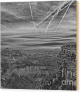 Flightpath-black And White Wood Print