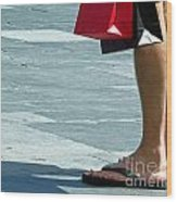 Flip Flops And Shopping Bags Wood Print