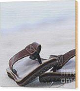 Flip-flops On Beach Wood Print