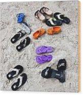 Flip Flops On The Beach Wood Print