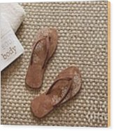 Flip Flops With Towels On Seagrass Rug Wood Print