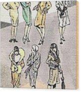 Flirty Flappers Wood Print by Mel Thompson