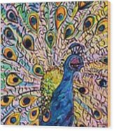 Flirty Peacock Wood Print