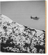 Float Plane Over The Mountain Wood Print
