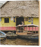 Floating Bar In Shanty Town Wood Print