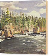 Floating Boulders On The Yellowstone River  1950s Wood Print