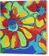 Floating Flowers Wood Print