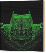 Floating Manor House In Green Wood Print