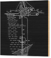 Floating Oil Rig Patent Wood Print