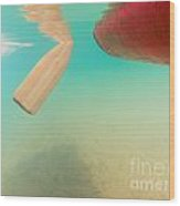 Floating Red Canoe From Underwater Wood Print