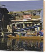 Floating Shop Along With Another Shop On Floats In The Dal Lake Wood Print
