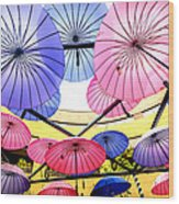 Floating Umbrella Wood Print
