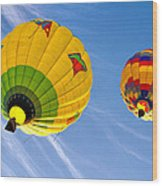 Floating Upward Hot Air Balloons Wood Print