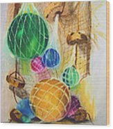 Floats And Nets Wood Print