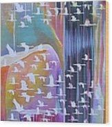 Flock Of Cranes Wood Print