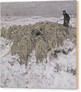 Flock Of Sheep In The Snow Wood Print