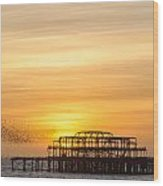 Flock Of Starlings Over The West Pier In Brighton Wood Print