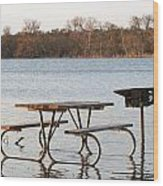 Flooded Park Bench Lunch Wood Print