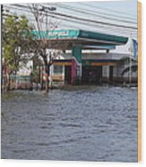 Flooding Of Stores And Shops In Bangkok Thailand - 01133 Wood Print
