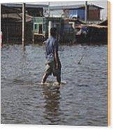 Flooding Of The Streets Of Bangkok Thailand - 01136 Wood Print