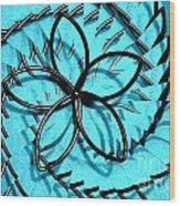 Flor Azul Wood Print