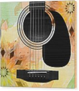 Floral Abstract Guitar 14 Wood Print