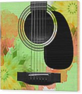 Floral Abstract Guitar 15 Wood Print