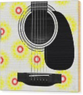Floral Abstract Guitar 22 Wood Print
