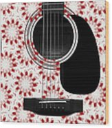 Floral Abstract Guitar 24 Wood Print